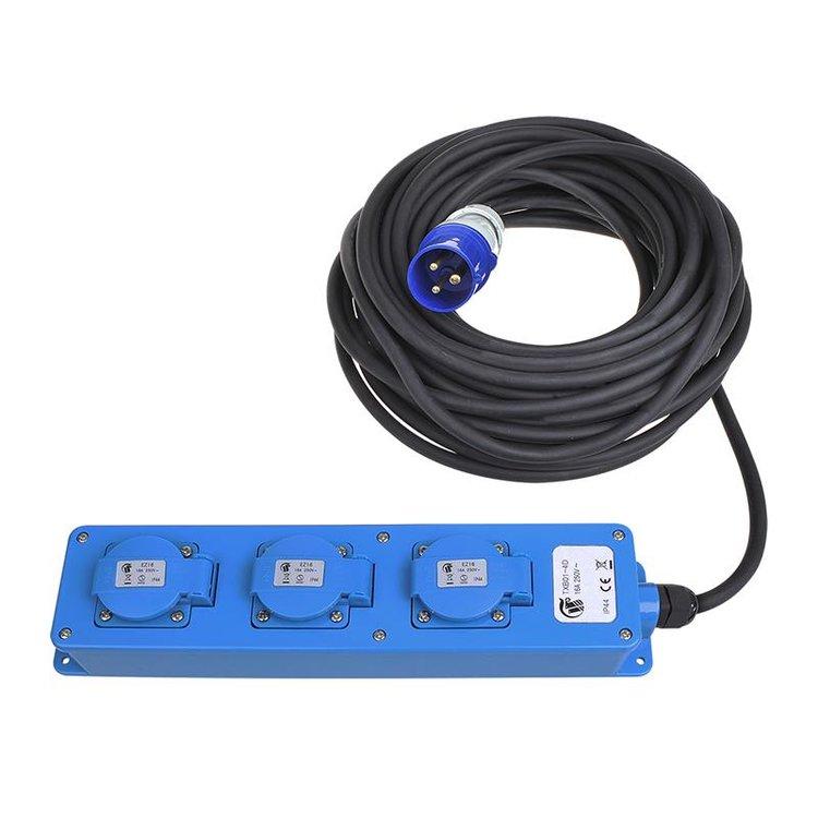 CEE 3-weg Schuko verdeeldoos 20m kabel