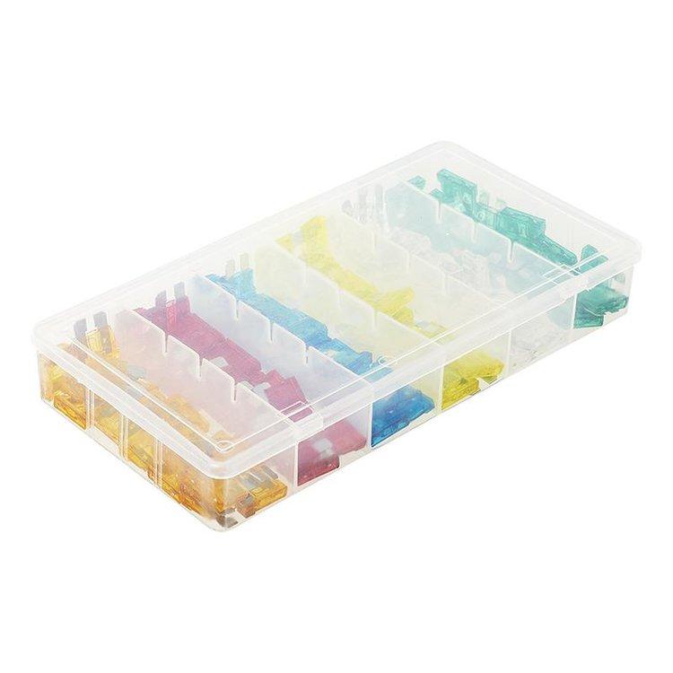 Steekzekeringen standaard assorti 120 stuks in kunststof box