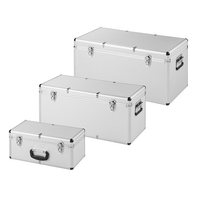 Gereedschapskisten aluminium look set van 3 stuks