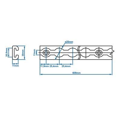 Bindrail aluminium 100cm